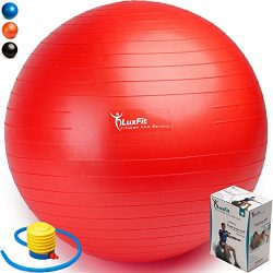 LuxFit Premium EXTRA THICK Yoga Fitness Exercise Ball '2 Year Warranty' (Red, 65cm)