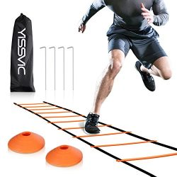 YISSVIC Agility Ladder and Cones 20 Feet 12 Adjustable Rungs Fitness Speed Training Equipment +  ...