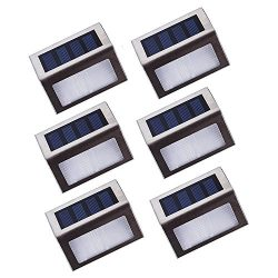 YouMiYa [Upgraded 3 LED] Solar Stairs Lights Platform, Deck and Garden Lamps Outdoor Step Lights ...