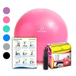 Exercise Ball – Professional Grade Anti-Burst Yoga Fitness, Balance Ball for Pilates, Yoga ...