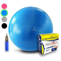 Exercise Ball – Professional Grade Anti-Burst Yoga Fitness, Balance Ball for Pilates, Yoga ...