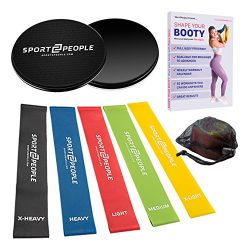 Exercise Resistance Loop Bands with Huge Workout E-Book – Set of 5 Fitness Loops for Legs  ...