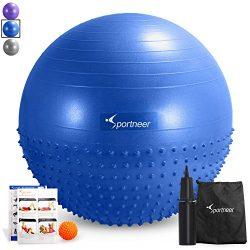 Sportneer Excercise Ball Anti-burst Dual-sided Balance Yoga Ball with Pump, Massage Ball, Workou ...