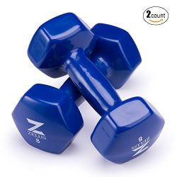 Z ZELUS Cast Iron Vinyl Coated Dumbbells Hand Weights for Women/Men Workout (Set of 2) (8)
