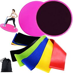 Resistance Bands Loop and Core Sliders Exercise, Exercise Elastic Bands (Set of 5) and Gliding D ...