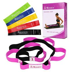 Reonico Stretch Strap with Loops Stretch Out Strap and Resistance Bands Set of 5 Exercise Bands  ...