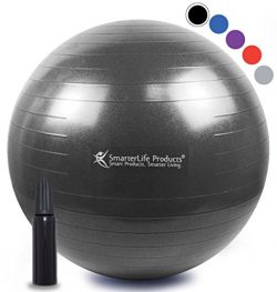 SmarterLife Exercise Ball for Yoga, Balance, Stability, Fitness, Pilates, Birthing, Therapy, Off ...