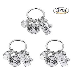 RINHOO FRIENDSHIP Stainless Steel Fitness Keychains With Quotes Weight Plate Dumbbell Kettlebell ...