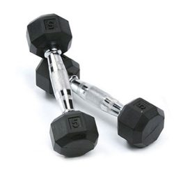 SPRI Deluxe Rubber Dumbbells (5-Pound) (Sold as set of 2)