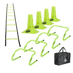 Pro Footwork Agility Ladder and Hurdle Training Set with Carry Bag – Speed Training Exerci ...