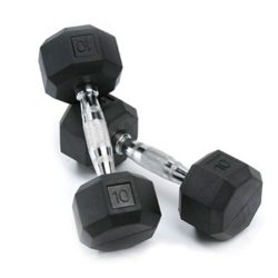 SPRI Deluxe Rubber Dumbbells (Sold as set of 2) (10-Pound)