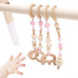 Baby Love Home 4pcs Wooden ring baby teether Activity Nursing Play Gym Silicone beads animal Pen ...