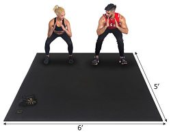 "Gxmmat Large Exercise Mat 72""x60""(6'x5′) x 7mm Ultra Durable, Non-Slip,  ..."