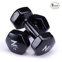 Z ZELUS Cast Iron Vinyl Coated Dumbbells Hand Weights for Women/Men Workout (Set of 2) (15)