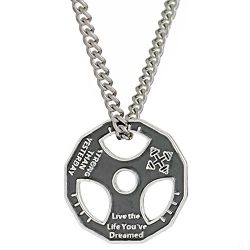 Unisex Fitness Gym Dumbbell Weight Lifting Plate Barbell Chain Pendant Charm Necklace Silver