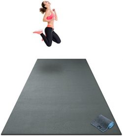 Premium Extra Large Exercise Mat – 10′ x 4′ x 1/4″ Ultra Durable, Non-Sl ...