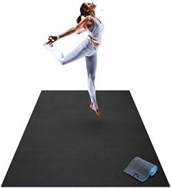Premium Large Yoga Mat – 6′ x 4′ x 8mm Extra Thick & Comfortable, Non-Toxi ...