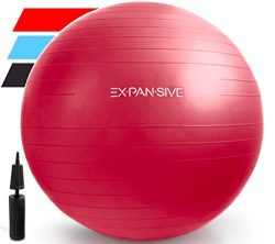 Expansive Living Anti Burst Exercise Ball (Red, 65 cm) – 2,000lbs STATIC STRENGTH STABILIT ...