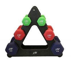 j/fit Dumbbell Set w/Durable Rack | Solid Design | Double Neoprene Coated Workout Weights Non-Ch ...