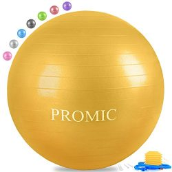 PROMIC Professional Grade Static Strength Exercise Stability Balance Ball with Foot Bump,45cm,Yellow