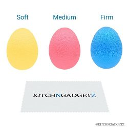 Hand Exercise Balls – Egg Shaped – 3 Squeeze Resistances (Soft, Medium, Firm) – ...