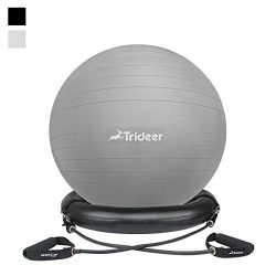 Trideer 65cm Ball Chair Flexible Seating Exercise Ball with Stability Ring & Pump, Great for ...