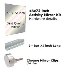 Fab Glass and Mirror GM48x72 Activity Mirror Kit for Gym & Dance with Safety Backing, 48R ...