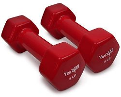 Yes4All Vinyl Coated Dumbbells – PVC Hand Weights for Total Body Workout (Set of 2, Red, 5 lbs)