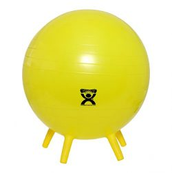 CanDo NonSlip Inflatable Exercise Ball with Stability Feet, Yellow, 17.7″