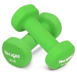 Yes4All 3 lbs Dumbbells Neoprene with Non Slip Grip – Great for Total Body Workout – Total Weigh ...