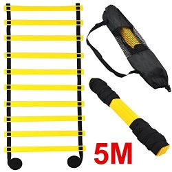 Topeakmart 5M 10-rung Sports Agility Ladder Agility Training Ladder Speed Flat Rung with Carryin ...