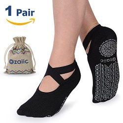 Yoga Socks for Women Non-Slip Grips & Straps, Ideal for Pilates, Pure Barre, Ballet, Dance,  ...