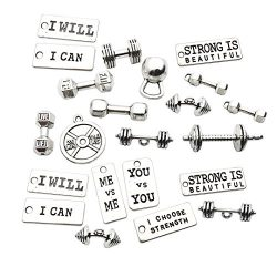 100g Sports Equipment Charms Collection – Mixed Silver Barbell Dumbbell Kettle Bell Weight ...