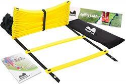REEHUT AgilityLadderw/FREEUSERE-BOOK+CARRYBAG–SpeedTrainingEquipment(Yellow, ...