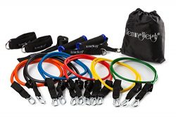 HemingWeigh Resistance Band Set with Door Anchor, Ankle Strap, Exercise Chart, and Resistance Ba ...