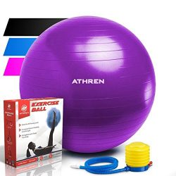 Exercise Ball with Foot Pump (GYM QUALITY FITNESS BALL) – 2000lbs Anti-burst – Also  ...