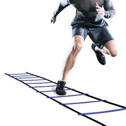 GHB Pro Agility Ladder Agility Training Ladder Speed Flat Rung with Carrying Bag in Blue