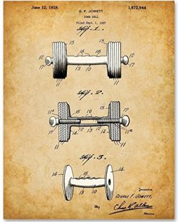Dumbbell Patent – 11×14 Unframed Patent Print – Great Gift for Body Builders an ...