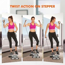 Mini Exercise Stepper Machine, Adjustable Fitness Stepper Air Stair Climber Step with Resistance ...