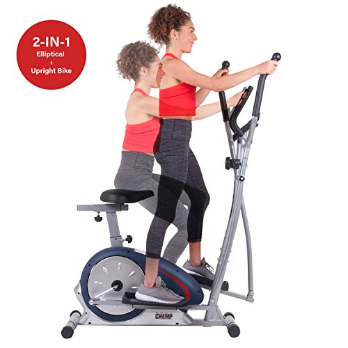 Body Champ BRM2788 Dual Trainer Elliptical Trainer and Exercise Bike with Seat and Heart Rate Pu ...