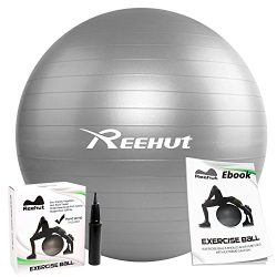 REEHUT Anti-Burst Core Exercise Ball for Yoga, Balance, Workout, Fitness w/Pump (Grey, 65CM)