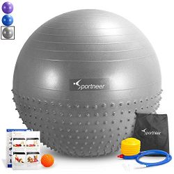 Sportneer Excercise Ball Anti-burst Dual-sided Balance Yoga Ball with Pump, Massage Ball, Workou ...