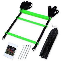 CampFENSE Speed Agility Ladder (Portable) Running Training Hurdles Athletic Football Soccer Bask ...