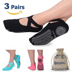 Yoga Socks for Women Non-Slip Grips & Straps, Ideal for Pilates, Pure Barre, Ballet, Dance,  ...