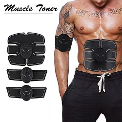 Muscle Toner,EMS abs Stimulator Muscle Trainer,Abdominal Toning Belt,Unisex Wireless Portable,Fi ...