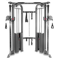 XMark Functional Trainer Cable Machine with Dual 200 lb Weight Stacks, 19 Adjustments, and Acces ...