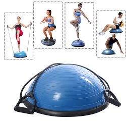 New Yoga Ball Balance Trainer Yoga Fitness Strength Exercise Workout w/Pump Blue