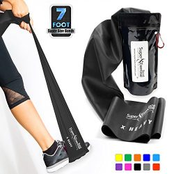 Super Exercise Band X Heavy Black 7 ft. Long Resistance Band. Latex Free Home Gym Fitness Kit Fo ...