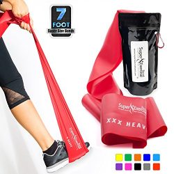 SUPER EXERCISE BAND XXX Heavy RED Resistance Band. Your Home Gym Fitness Equipment Kit for Stren ...