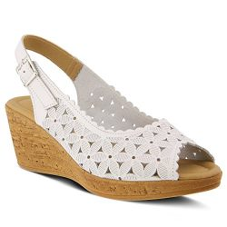 Spring Step Women's Malana Wedge Sandal, White, 40 M EU (US 9 US)